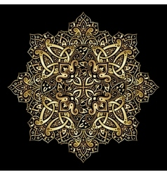 Ethnic pattern in gold and black colors vector