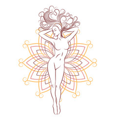 female nude silhouette on geometrical flower vector image
