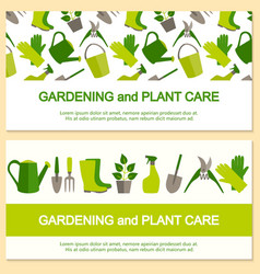 Flat design banner for gardening and plant care vector