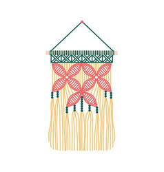 Floral macrame design wall hanging decoration vector