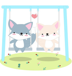 fox anf friend on swing at garden vector image