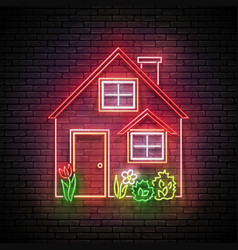 Glow house with red roand flowerbed vector