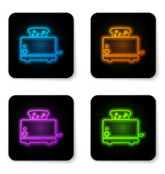 glowing neon toaster with toasts icon isolated on vector image
