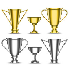 gold and silver trophy cups set sports metal vector image