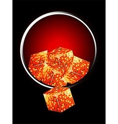 Golden cubes over metallic border vector
