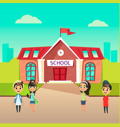 Group of pupils go to school together students vector