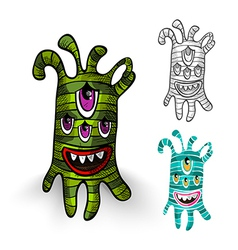 Halloween monsters isolated spooky creatures set vector