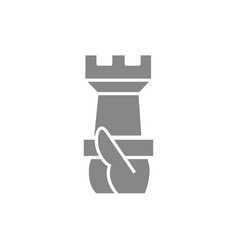 hand holds a rook chess gray icon board game vector image