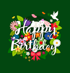 Happy birthday card with flowers bouquet vector