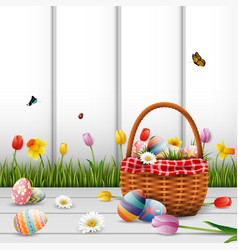 happy easter with eggs and flowers on wood vector image