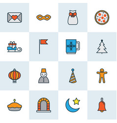 happy icons colored line set with gift sack bell vector image