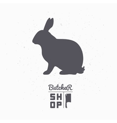 Hare silhouette Rabbit meat Butcher shop logo vector image