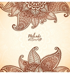 Indian mehndi henna tattoo style card vector image