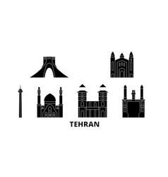 Iran tehran flat travel skyline set iran tehran vector