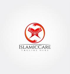 Islamic logo templatehand and quran icon vector