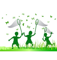 kids catching butterfly vector image