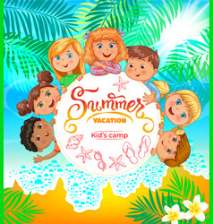 kids summer camp banner with cute vector image