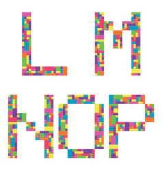 L m n o p alphabet letters from children vector