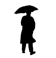 Man in raincoat with umbrella vector