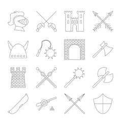 Medieval outline icons set vector