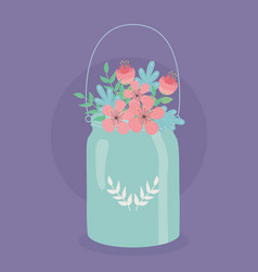 Metal pot hanger with flowers and leafs decoration vector