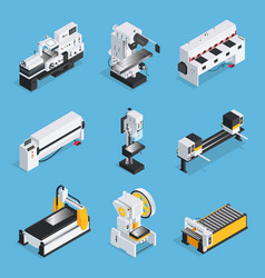 Metalworking machines isometric set vector