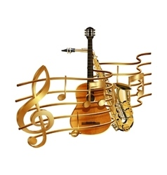 musical stave volume guitar and saxophone vector image