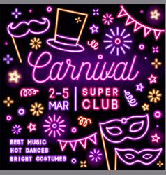 neon square card invitation for carnival party vector image