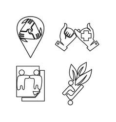 paper leaf location commitment teamwork together vector image