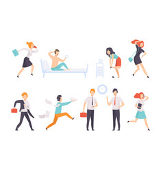 people running to work businesspeople characters vector image