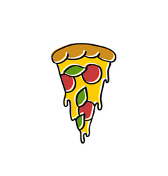 pizza doodle icon vector image