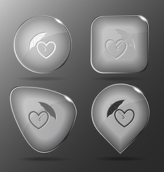 Protection love Glass buttons vector image