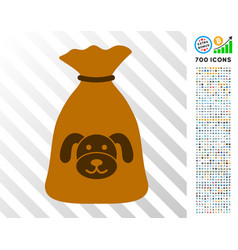 Puppy sack flat icon with bonus vector