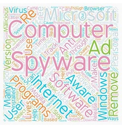 Remove Spyware text background wordcloud concept vector image