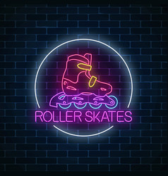 roller skates glowing neon sign in circle frame vector image