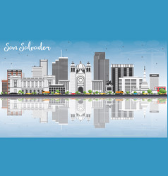 san salvador skyline with gray buildings blue sky vector image