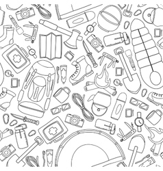 Seamless doodle pattern of camping and vector