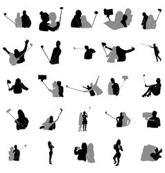 Selfie silhouette set vector image