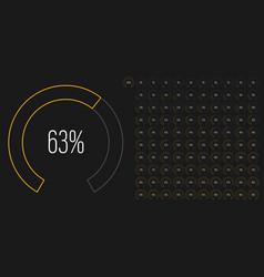Set circular sector percentage diagrams meters vector