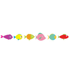 set cute cartoon fishes sea ocean animal baby vector image