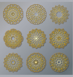 set of golden oriental lacy round patterns vector image