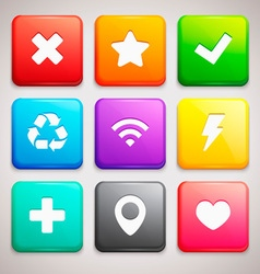Set of icons on colorful backgrounds vector