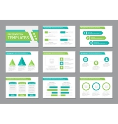 Set of turquoise and green template for vector