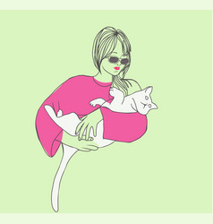sketch young beautiful woman with cat vector image