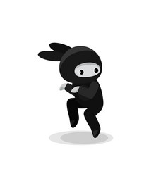 snaking cute bunny ninja isolated on white vector image