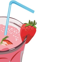 Strawberry milkshakes vector