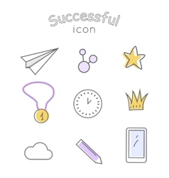 Successful Icons Set Indispensable Things vector image