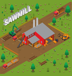 Timber mill lumberjack isometric composition vector