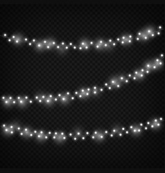 White christmas lights festive light decoration vector