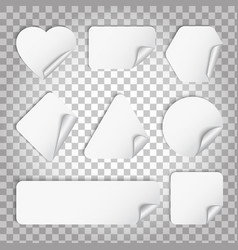 White paper sticker with curl and shadow vector